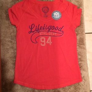NWT life is good fitted V-neck T-shirt top medium